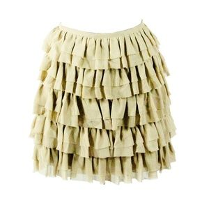 Khaki Silk Tiered Ruffle A Line Mini Skirt Size 2